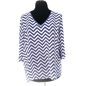 Royal Blue and White Chevron Print Tunic Top Large